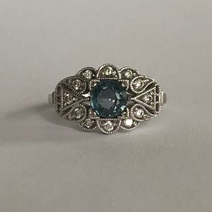 Jewelry - Stunning Sapphire & Diamond Ring in 14K White Gold
